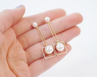 E064 Bride Bridesmaid Wedding White Pearl Dangle Drop Earrings Stud Earrings Post Earrings Pierced Earrings with 925 Sterling Silver Post