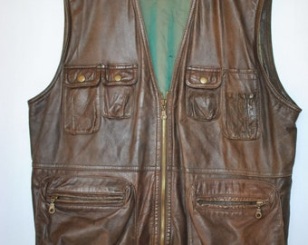 Vintage COMANDER men's leather vest ...(010)
