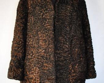 Vintage Persian Lamb Coat , rare color , medium  length fur coat....(001)