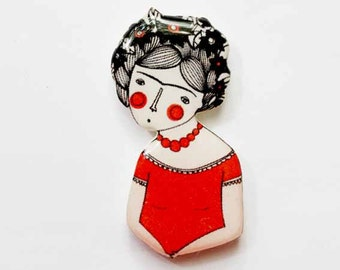 Frida Kahlo Brooch Pin Frida Kahlo Jewelry Frida Kahlo Gift Mexican Artist Unique Gift For Her Unique Jewelry Frida Kahlo Lovers