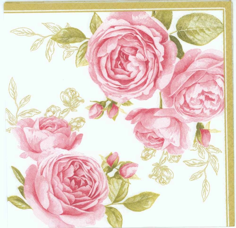 4 Decoupage Paper Napkins Pink Pastel Roses Rose Napkins