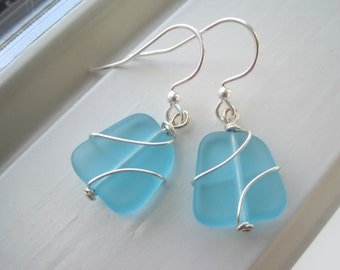 Blue Glass Earrings - Cultured Sea Glass Jewelry - Light Blue Earrings - Wire Wrapped Earrings - Wire Wrapped Jewelry - Recycled Glass
