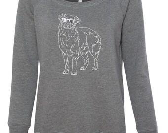 Australian Shepherd Sweatshirt, Womens open neck, Dog Sweatshirt
