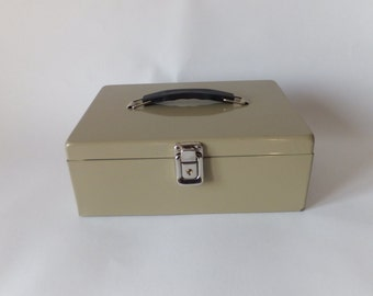 Industrial Metal File Box, Office Storage, Storage, Vintage Storage Box, Retro Check Storage Box,