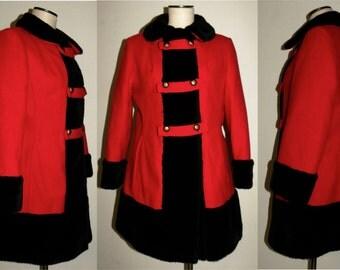 1960's 60s MOD Princess Coat / Wool / RED Russian Princess / Black FAUX Fur trim