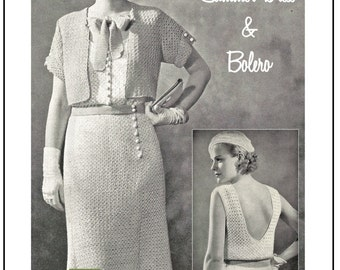 1930's Summer Dress, Bolero & Beret Crochet Pattern - Instant Download - PDF Crochet Pattern