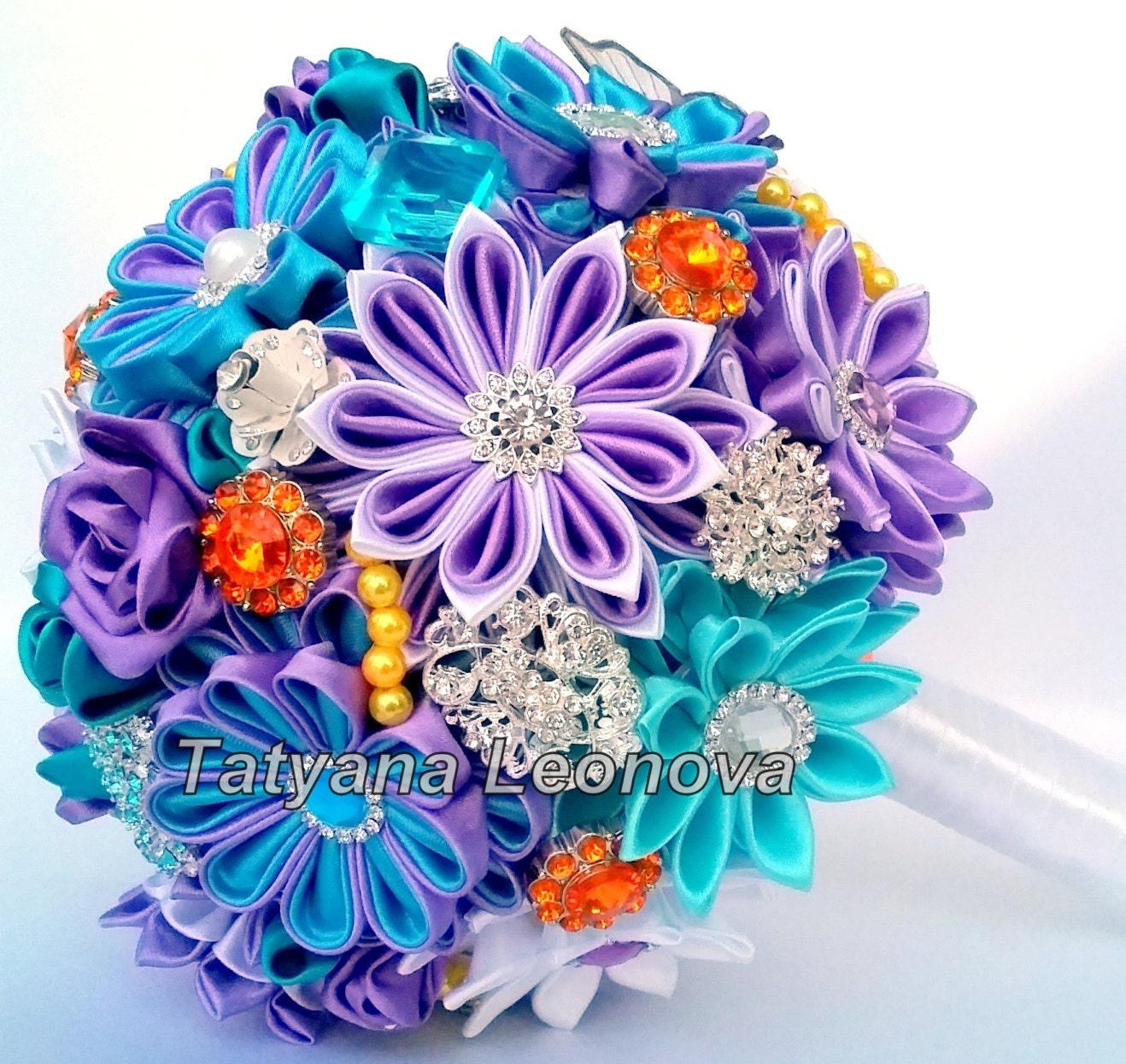 Wedding Bouquet Brooch Bouquet Turquoise Purple Orange And