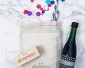 Pop Champagne Stamp / Champagne Favors / Favor Tags / DIY Favors / Pop Clink Fizz / Champagne Stamp / Wedding Favors