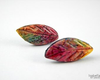 Colorful leaf stud earrings, christmas gift, multicolored stud earrings, polymer clay stud earrings, polymer clay leaves, faux ceramic leaf