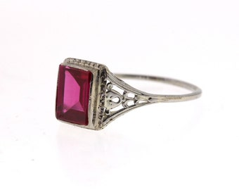 Art Deco Ruby Ring, Vintage Filigree Ruby Ring, White Gold Synthetic Ruby