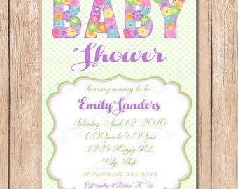 Flower Baby Shower Invitation | Pretty Floral, Neutral, Girl - 1.00 each printed or 10.00 DIY file