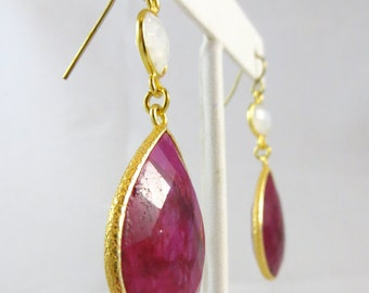 Ruby and Moonstone Dangle Earrings
