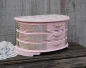 Jewelry Box, Jewelry Chest, Shabby Chic, Pink, French, Large Jewelry Box, Wood, Hand Painted, Gift for Wife, Gift for Mom, Valentine