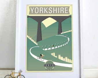 Bicycle, bike, cycling race Tour de Yorkshire 2015 Poster Wall Art Hanging Print Home Décor