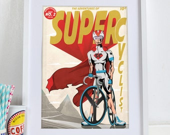 Male Super Cyclist Comic Book Style Poster Wall Art Print Home Décor for bike, bicycle lovers. Perfect for Fathers day.