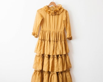 vintage 70s goldenrod tiered ruffled dress