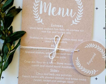 Rustic Laurel Wreath Wedding Menu Card