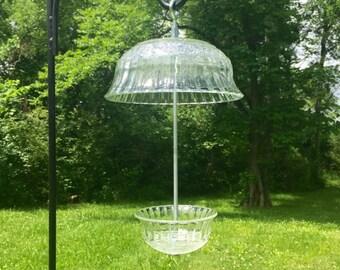 Vintage Glassware Birdfeeder