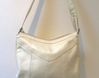 1960's Creamy Ivory Leather Shoulder Bag with 3 Divided Sections by Lou Taylor