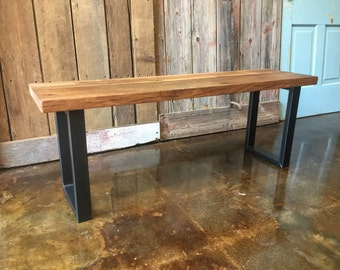 Reclaimed Wood Bench / Industrial U-Shaped Steel Legs