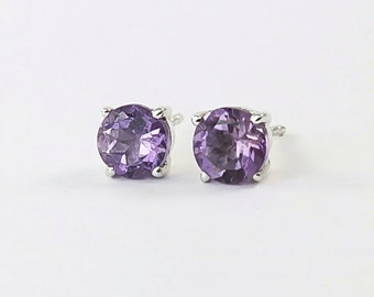 Amethyst stud earrings Sterling silver amethyst earrings 6 mm natural gemstone studs February birthstone jewelry