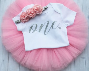 Baby Girl Pink Silver Birthday Tutu- Pink and Silver First Birthday Outfit- Silver Pink One Birthday Outfit- Gold One 1st Birthday Outfit