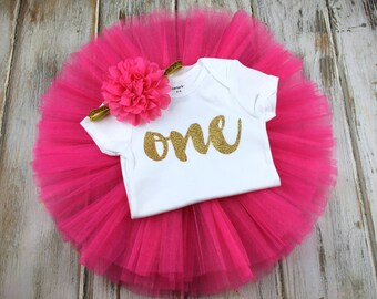Baby Girl Hot Pink Gold Birthday Tutu- Pink and Gold First Birthday Outfit- Gold and Pink One Birthday Outfit- Gold One 1st Birthday Outfit