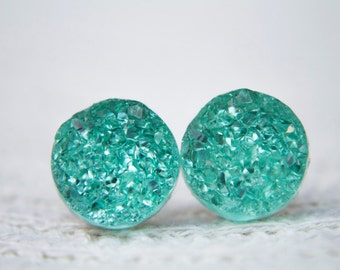 Mint Green Druzy Earrings, Faux Druzy Earrings, Druzy Jewellery, Green Druzy earrings, Glitter Studs, Sparkle Earrings