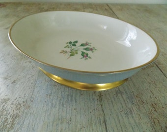 Flintridge China San Marino Oval Footed Vegetable Dish | 10 inch | Rose Bud Gold Footed Serving Bowl