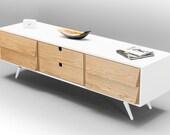 Sideboard, dresser, cupboard, credenza in solid board oak ,media console,media center Mid century,tantik L