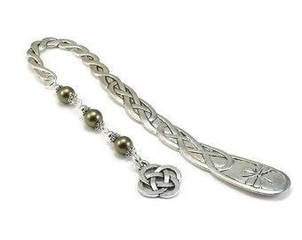 Celtic Style Bookmark Green Beaded Book Mark