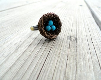 Ring,birds nest ring,wire wrapped ring,beaded ring,nest ring,turquoise ring,adjustable ring,size 4 ring,size 5 ring , size 6 ring