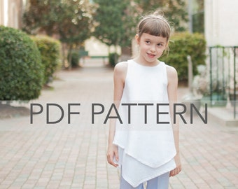 Hazel PDF, girl top pattern, girl pdf, girl pattern, children's pattern, tween top pdf, toddler pattern, girl summer pdf, girl blouse pdf