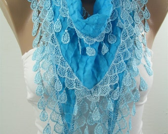 Turquoise Scarf Cowl Scarf with Lace Gift ideas for her Bridesmaids Gifts Spring Summer Fall Winter Fashion Holiday Christmas Gifts for her