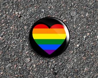 Pride Heart 1 Inch Pinback Button / Badge / Pin