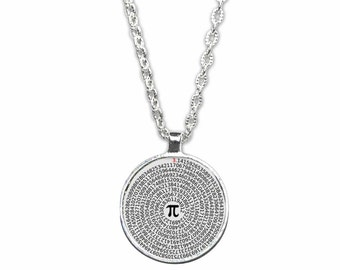 Value of Pi  Round  Pendant Necklace - Geeky Math Jewelry