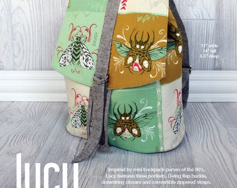 Swoon Patterns: Lucy Backpack - PDF Vintage Purse Backpack Bag Adjustable Strap Sewing Pattern