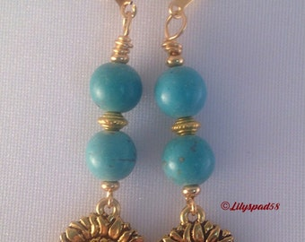 Turquoise and Gold Sunflower Beaded Earrings, Gift for Her, Art Nouveau, Floral, Vintage Inspired, Elegant, Romantic, Gypsy, Natural Stone