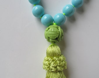 Chinoiserie Tassel Necklace Turquoise & Lime