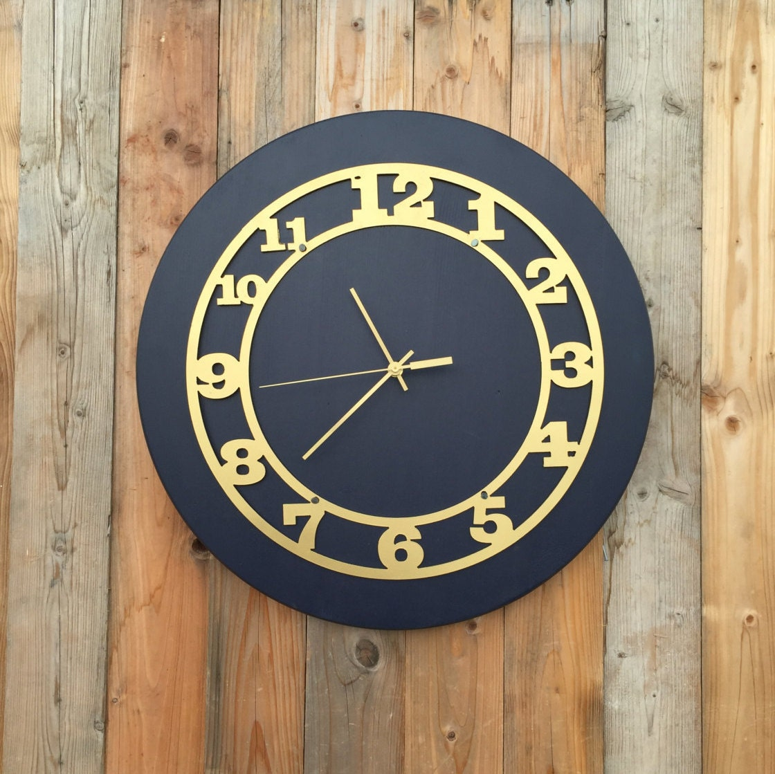 blue and gold large wood clock wall clock gold clock. Black Bedroom Furniture Sets. Home Design Ideas