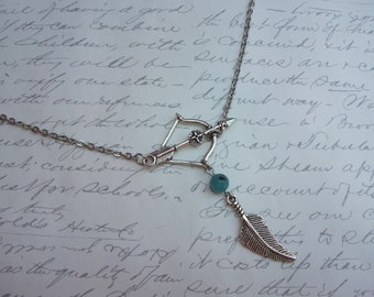 Bow and arrow necklace with feather