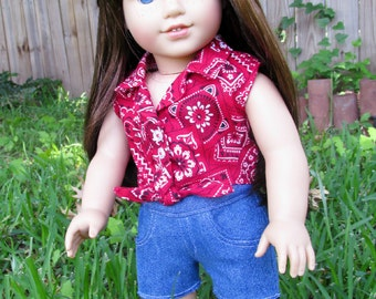 """18 Inch Doll Outfit , Red Bandana Sleeveless Top and Denim Shorts, American made to fit 18"""" girl dolls"""