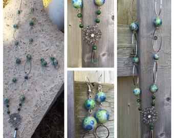 Long beaded necklace with matching earrings
