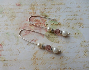 Bride or Bridesmaid Glass Pearl, Sterling Silver & Blush Crystal Earrings.