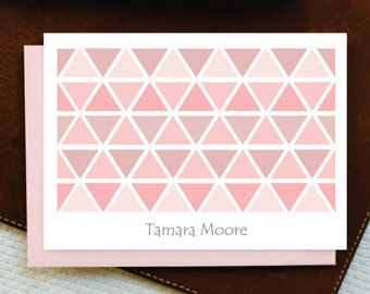 Personalized Note Cards - Personalized Stationery - TRIANGLES - Custom Stationery Note Card Set
