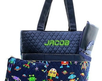 Personalized Robot Navy Blue Diaper Bag Quilted Baby Tote