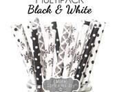 Black and White Straws, Paper Straws, Black Lace Theme, Damask, Filigree, Baby Shower, Bridal Shower, Wedding, Dots, Vintage, 25 Straws