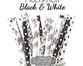Black and White Straws, Paper Straws, Black Lace Theme, Damask, Filigree, Baby Shower, Bridal Shower, Wedding, Dots, Vintage, 25 Straws