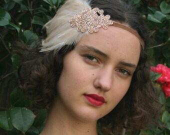 Feather Headpiece 1920s Hair Accessory Flapper Headpiece 1920s Headpiece Champagne Headpiece Fascinate Gatsby Headpiece