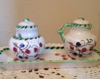 Vintage Rare 4 Pc Set  HAKUSAN Tray Condiment Bowl with lid and Shaker